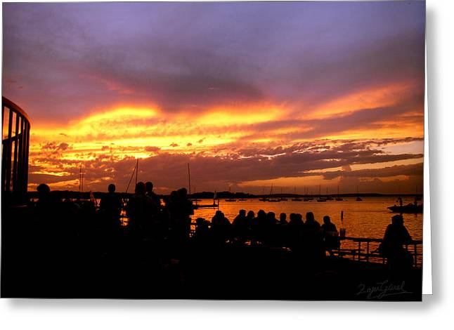 Flaming Sunset Greeting Card by Zafer Gurel