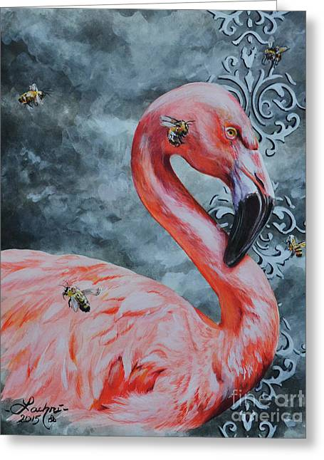 Flamingo And Bees Greeting Card