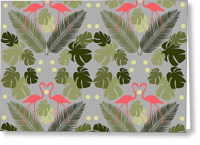 Flamingo And Palms Greeting Card