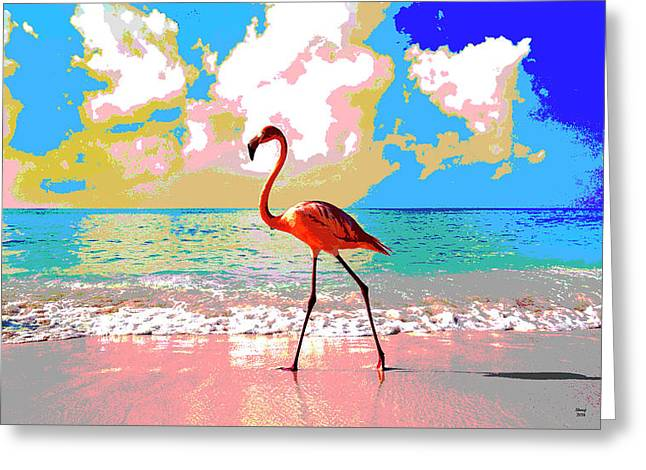 Flamingo At Sunset Greeting Card by Charles Shoup