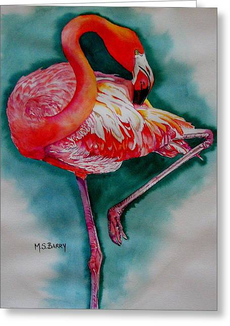 Flamingo Ballerina Greeting Card