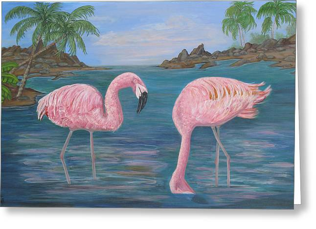 Flamingo Cove Greeting Card by Mikki Alhart
