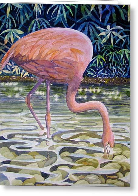 Flamingo Fishing Greeting Card