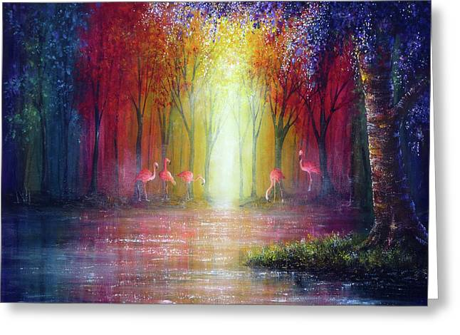 Flamingo Forest Greeting Card by Ann Marie Bone