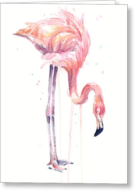 Flamingo Illustration Watercolor - Facing Left Greeting Card by Olga Shvartsur
