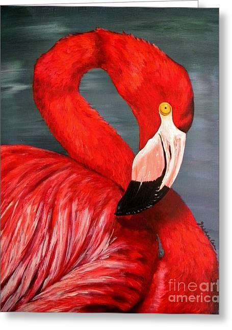 Flamingo Greeting Card by JoAnn Wheeler