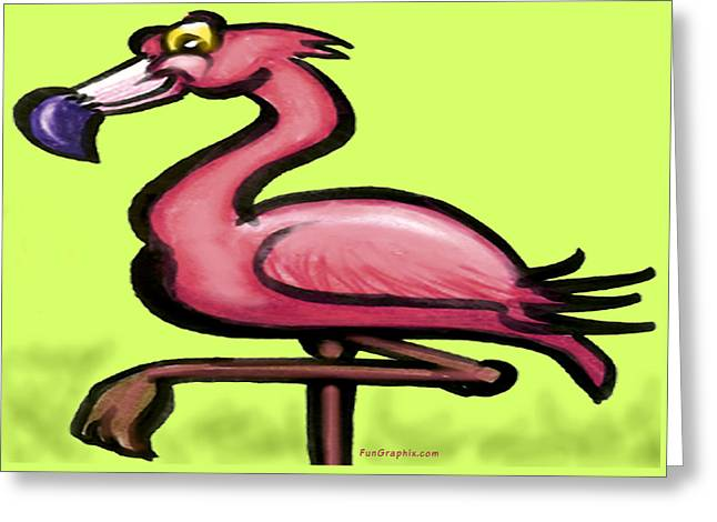 Greeting Card featuring the painting Flamingo by Kevin Middleton