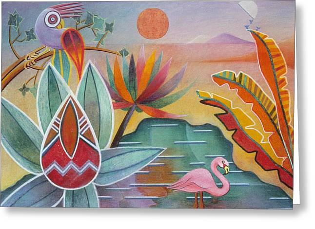 Flamingo Oasis Greeting Card by Sally Appleby