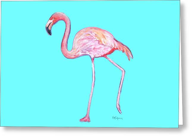 Flamingo On Blue Greeting Card