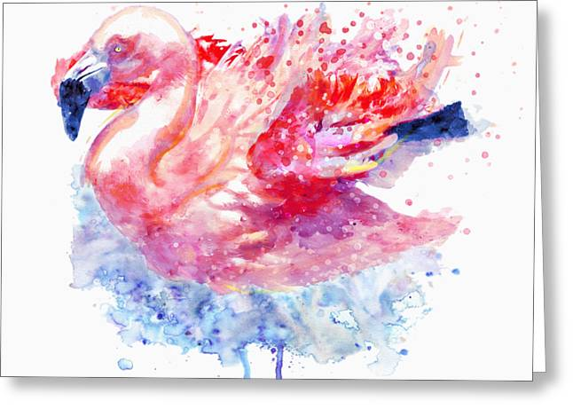 Flamingo On The Water Greeting Card by Marian Voicu