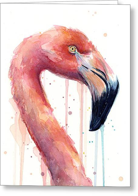 Flamingo Painting Watercolor - Facing Right Greeting Card by Olga Shvartsur