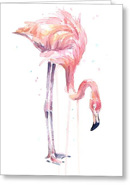 Flamingo Painting Watercolor Greeting Card by Olga Shvartsur