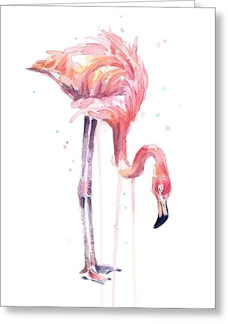 Flamingo Painting Watercolor Greeting Card by Olga Shvartsur