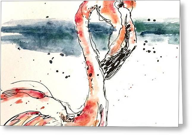 Flamingo Pool Greeting Card