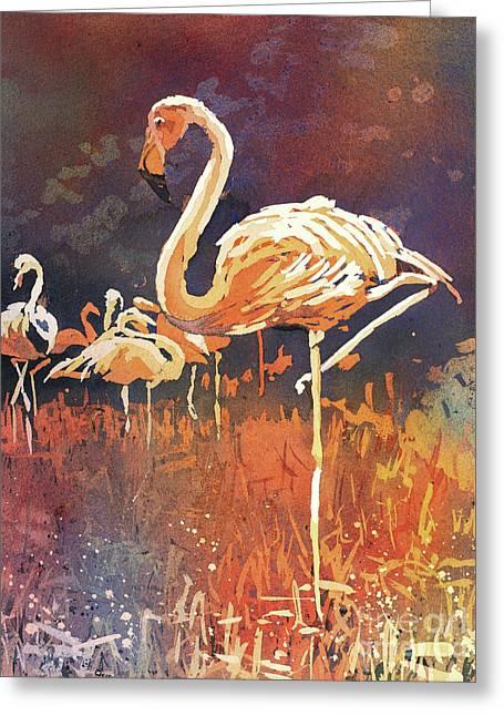 Flamingo Posing Greeting Card by Ryan Fox