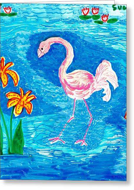 Irises Ceramics Greeting Cards - Flamingo Greeting Card by Sushila Burgess