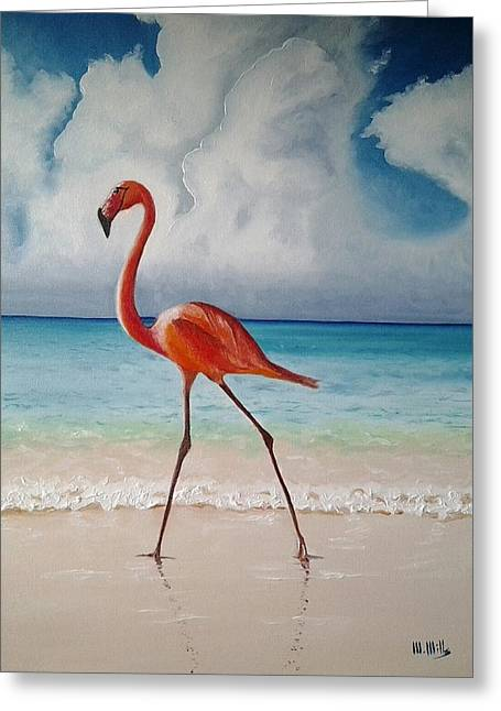 Flamingo Walk Greeting Card