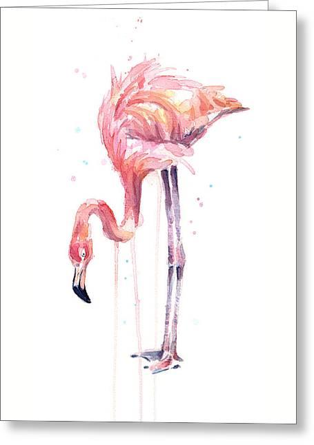 Flamingo Watercolor - Facing Left Greeting Card