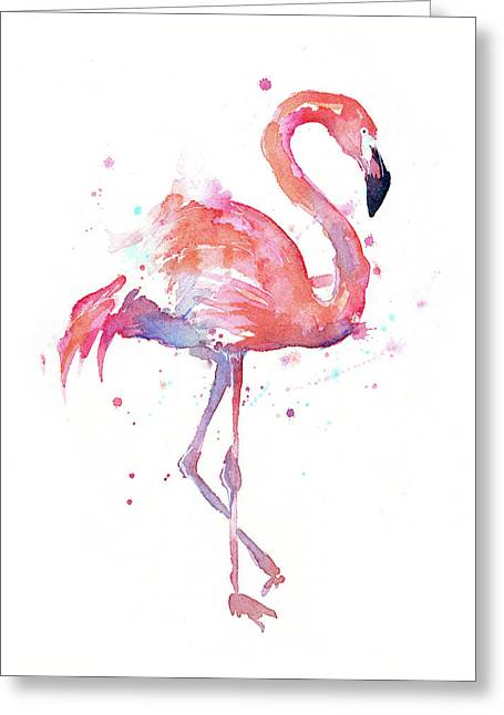 Flamingo Watercolor Facing Right Greeting Card