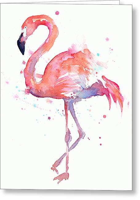 Flamingo Watercolor Greeting Card by Olga Shvartsur