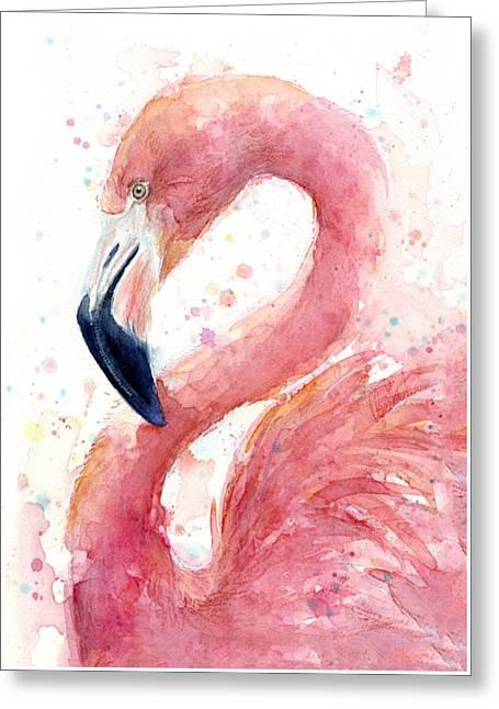 Flamingo Watercolor Painting Greeting Card