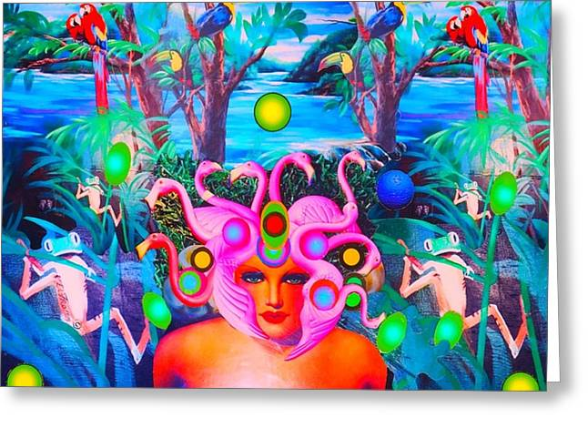 Greeting Card featuring the photograph Flamingodeusa In The Neon Jungle by Douglas Fromm
