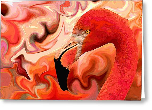 Greeting Card featuring the digital art Flamingoed An Abstract In Pink by Shelli Fitzpatrick