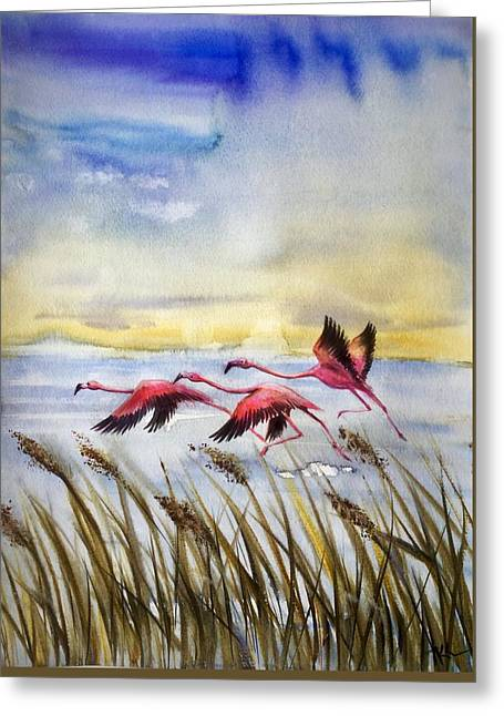 Flamingoes Flight Greeting Card
