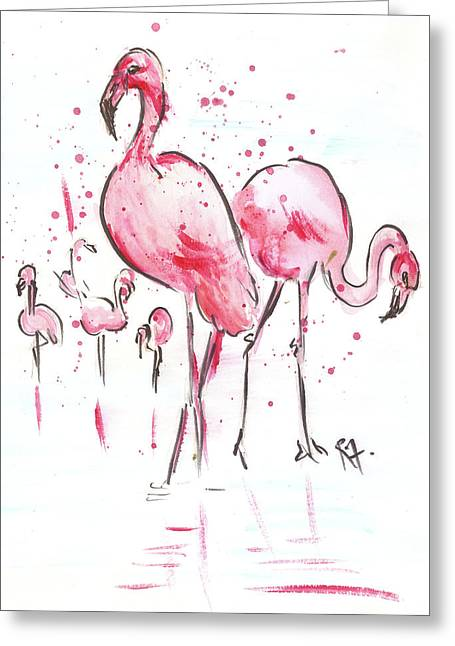 Flamingoes Greeting Card by Remy Francis