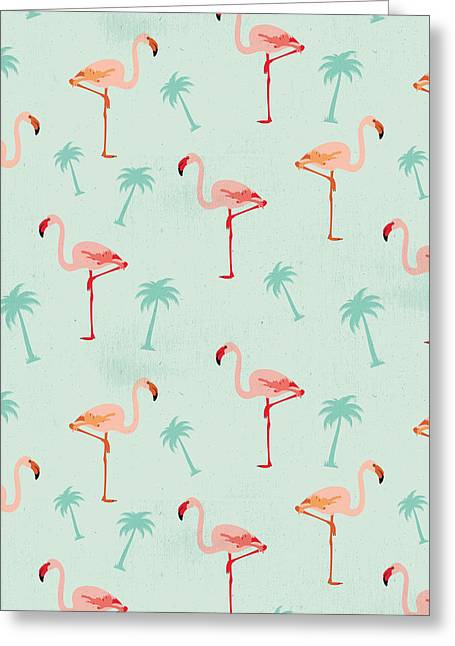 Flamingos And Palm Trees Greeting Card