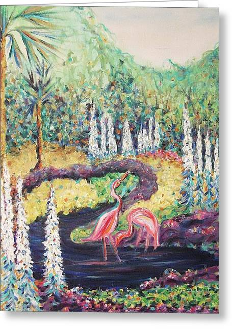 Flamingo's In Florida Greeting Card by Suzanne  Marie Leclair