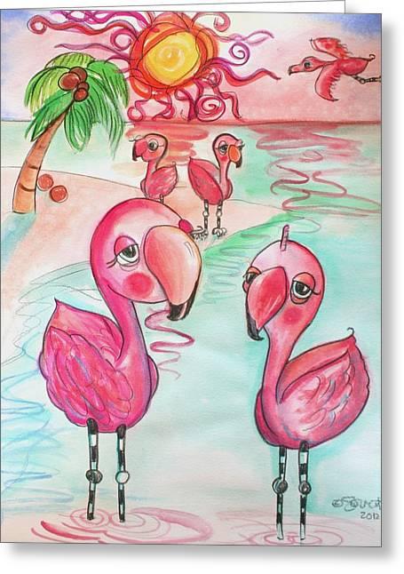 Flamingos In The Sun Greeting Card