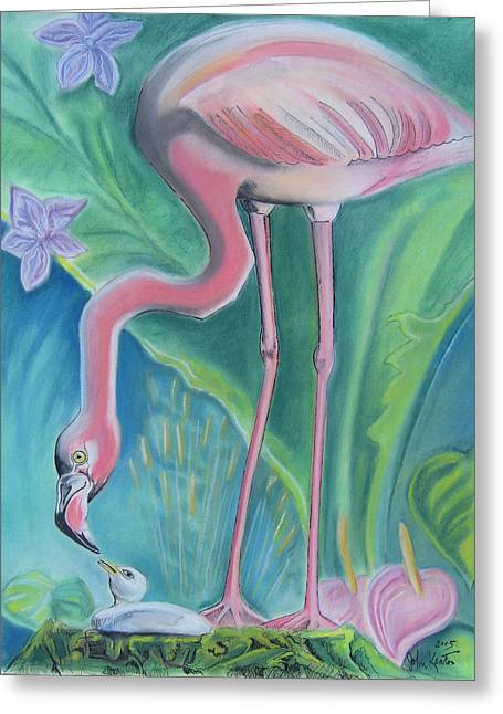 Johnkeaton Greeting Cards - Flamingos Greeting Card by John Keaton