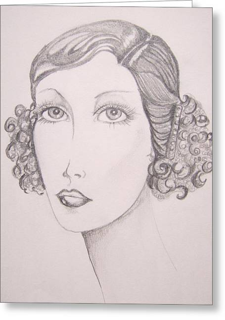 Flapper Girl Greeting Card by Leslie Manley