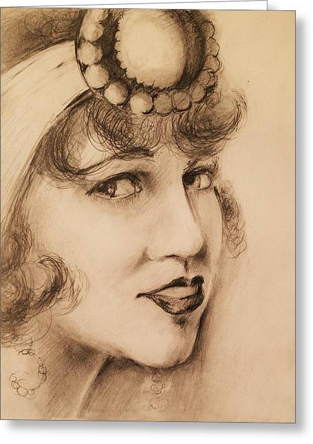 Flapper Girl Greeting Card by Paul Birchak