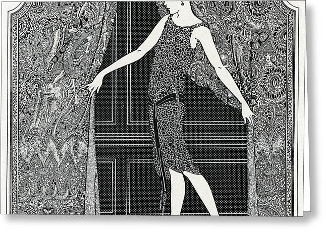 Flapper Opening A Curtain Greeting Card by American School