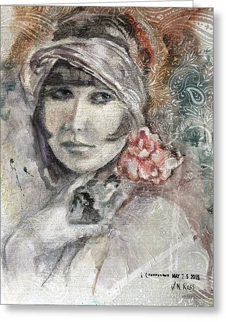 Flapper With Peony Greeting Card