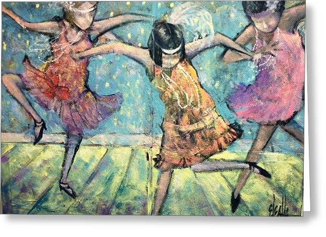 Greeting Card featuring the painting Flappers by Eleatta Diver