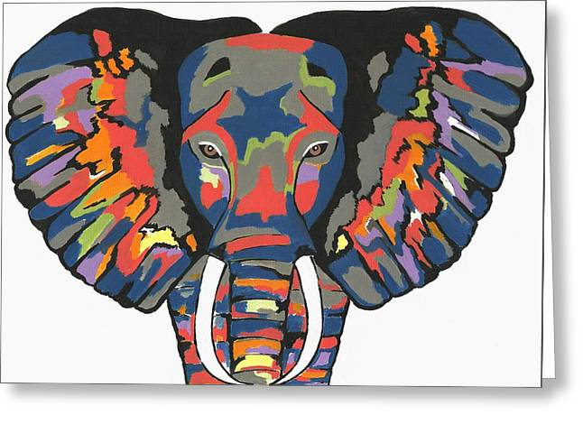 Flashy Elephant Greeting Card by Kathleen Sartoris