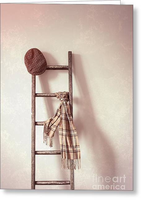 Flat Cap And Scarf On Rustic Ladder Greeting Card