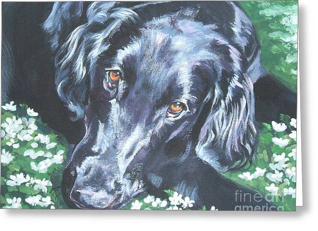 Greeting Card featuring the painting Flat Coated Retriever by Lee Ann Shepard