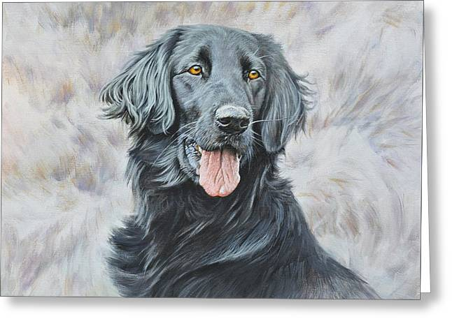Greeting Card featuring the painting Flat Coated Retriever Portrait by Alan M Hunt