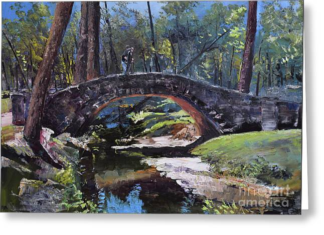 Greeting Card featuring the painting Flat Rock Park - Two Very Special People-columbus Ga by Jan Dappen