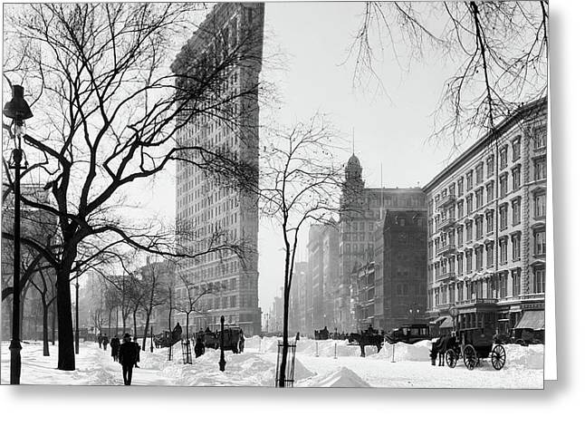 Flatiron Building After Blizzard 1908 Greeting Card by L O C