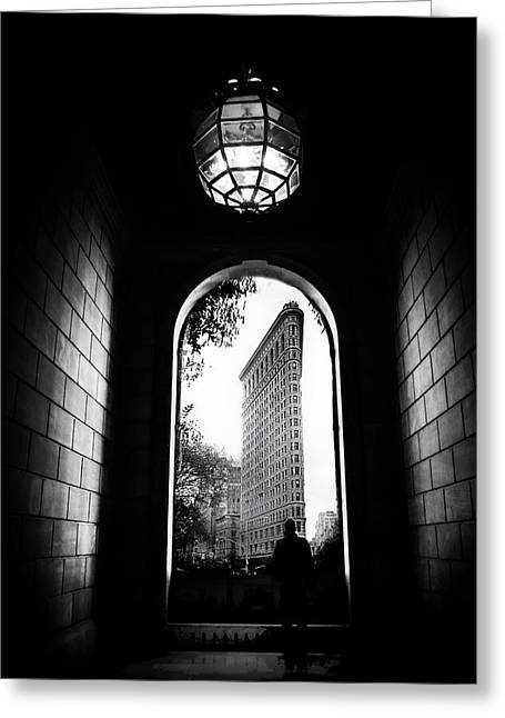Greeting Card featuring the photograph Flatiron Point Of View by Jessica Jenney