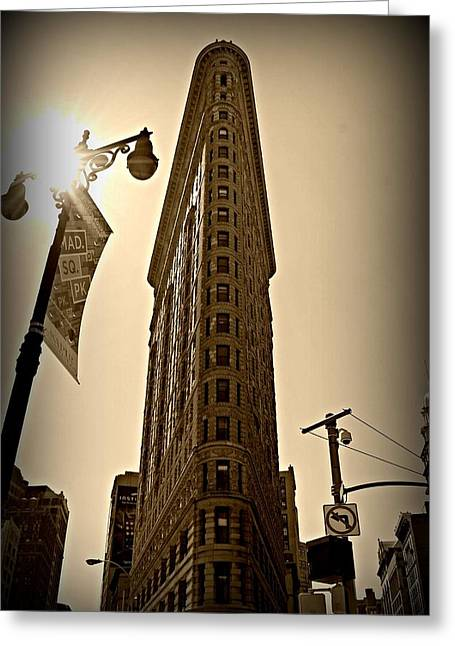 Flatiron Sepia Greeting Card by Randy Aveille