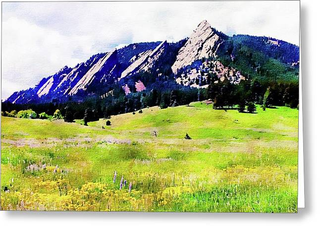 Greeting Card featuring the digital art Flatirons - Boulder, Colorado by Joseph Hendrix