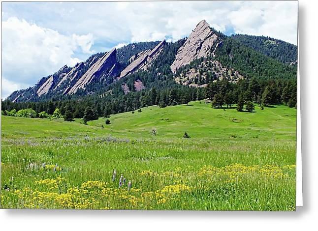 Greeting Card featuring the digital art Flatirons Of Boulder, Colorado by Joseph Hendrix