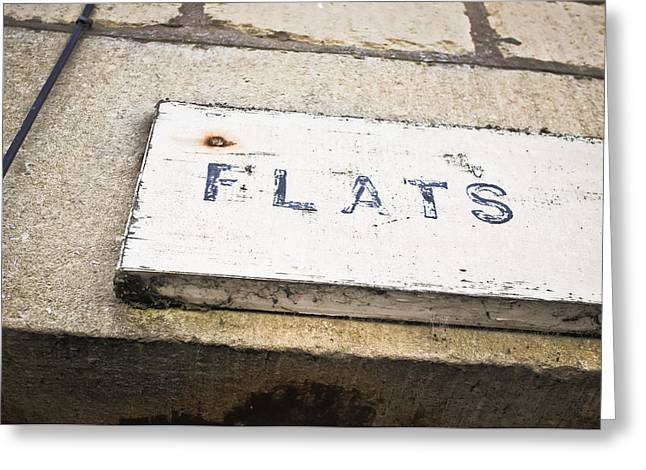 Flats Sign Greeting Card by Tom Gowanlock