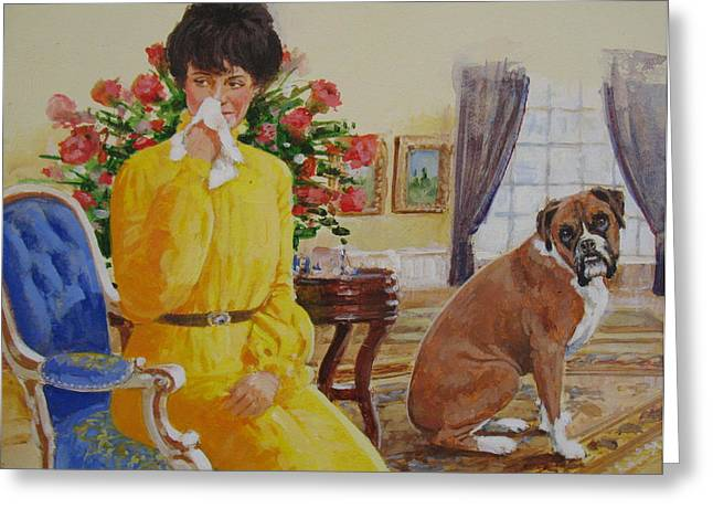 Greeting Card featuring the painting Flatulent Boxer by Cliff Spohn